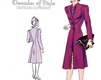 Claremont Coat 1940  Decades of Style Vintage Style Sewing Pattern