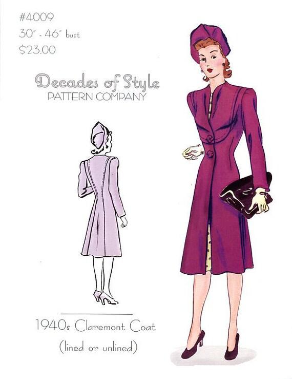 1940s Sewing Patterns – Dresses, Overalls, Lingerie etc 1940 claremont Coat $23.00 AT vintagedancer.com