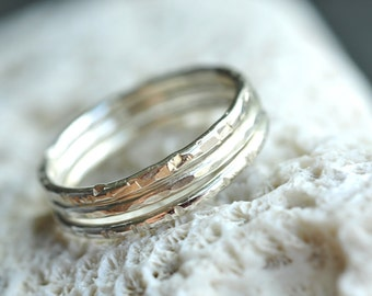 skinny Stacking Rings - sterling silver -  set of 3 - pick your textures - thin bands