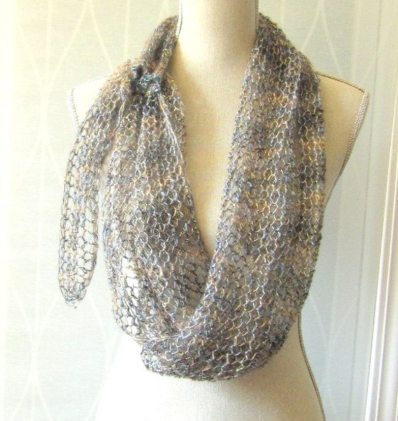 Handknit Lace Shawl Scarf Neckwrap  - Blue and Tan with Crystals