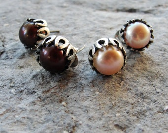 Sterling silver Pearl Earrings Pearl studs In Pale Pink or Brown