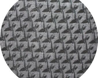 HALF YARD Kokka- Monochrome by Ellen Baker - Small Cranes on Charcoal - Double Gauze - Japanese Import Fabric