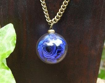 Real Rose Pendant - Glass Vial Pendant - Living Flower Necklace - Terrarium Pendant - Something Blue Pendant - Plant Bottle Necklace