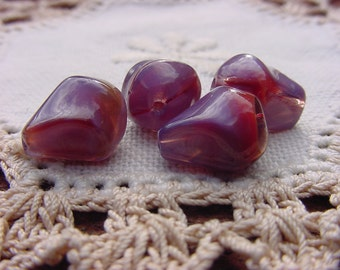 Pomegranate Plum Givre Nugget Vintage Glass Beads
