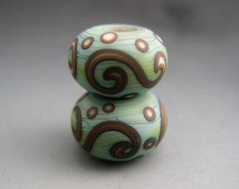 Naos Glass Scrolls Pair Made To Order Artisan Glass Beads Mint Green Brown Cream Yellow Handmade Lampwork Beads SRA