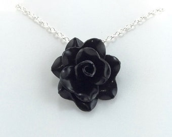 Shiny Black Rose Pendant - Simple Rose Necklace - Shiny Black Rose Necklace  - Bridesmaid, Wedding Jewelry - Polymer Clay - MADE to ORDER