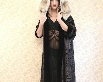 Gorgeous lamé 1920's Hooded Opera Coat Jacket Flapper
