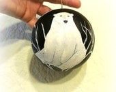 Handmade Polar Bear in Tree Christmas Ornament Original Painting Round Ornament Bear Gift Item