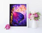 Rapunzel, Print, Art, Disney, Tangled, Watercolor, Princess, Disney Princess, Illustration, Nursery Room, Lantern Scene