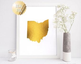 Ohio Wall Art - Gold Foil Ohio Map - Ohio State - Real Gold Foil Prints - Ohio State Baby - Ohio Gift - Ohio Home - Ohio Art - Personalized