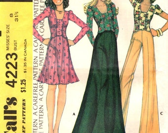 McCall's 4223 Retro Ruched Top, Mini or Maxi Skirt, Wide Leg Pants ©1974