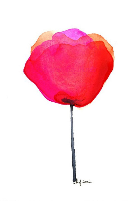 "Red and orange watercolor flower art print: ""Mexican Paper Flower"""