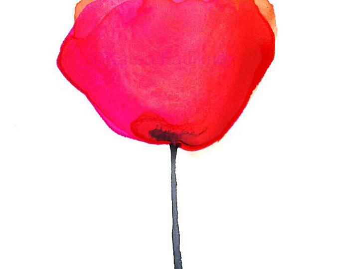 """Red and orange watercolor flower art print: """"Mexican Paper Flower"""""""