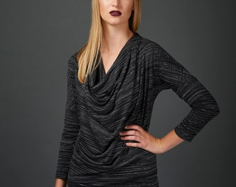 Josefine top - soft draping cowl in black jersey with 3/4 sleeves
