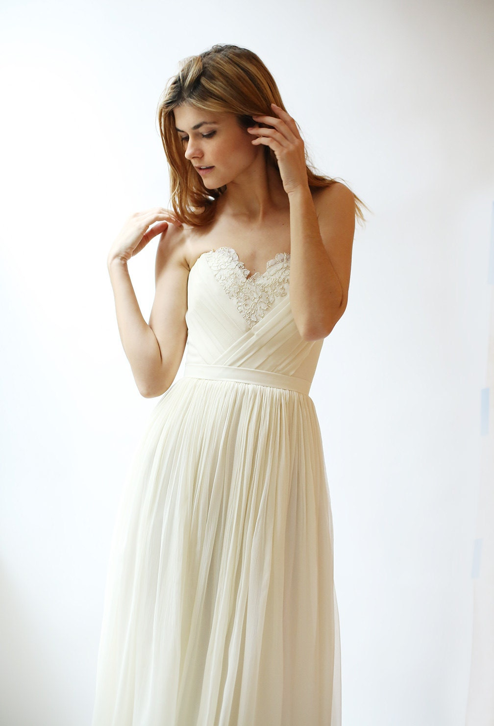 Silk Chiffon Wedding Gown With Pleated Detail And French
