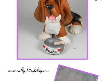 Custom Pet Dog Cat Sculpture with name on food dish OOAK Hand sculpted by Sally's Bits of Clay