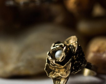 Limited Edition Petals and Pearls Gold Rose Ring - Vintage Limited Stock - Floral Pearl Ring in Antique Gold - Adjustable, Boho, Wild Heart