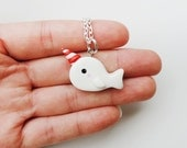 Winter Special White Peppermint Narwhal Necklace