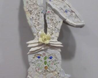 white rabbit mosaic shabby cottage chic broken china  wall hanging