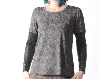 Black womens top, Black and brown lace print wide top with black pleather sleeves, size FR 40/ UK 12