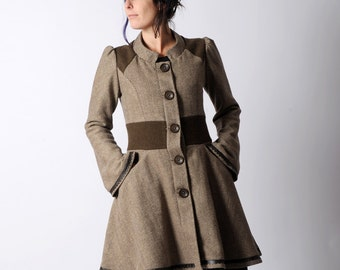 Brown womens coat, Brown and beige coat, Brown flared womens coat, Flared sleeves and chevron pattern - sz UK 10 or CUSTOM MADE