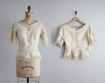 cream linen blouse / openwork lace blouse / embroidered blouse