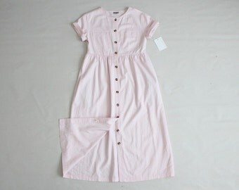 pale pink work dress | vintage 90s dress | pink cotton dress