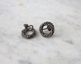 wreath earrings / sterling silver earrings / sterling earrings