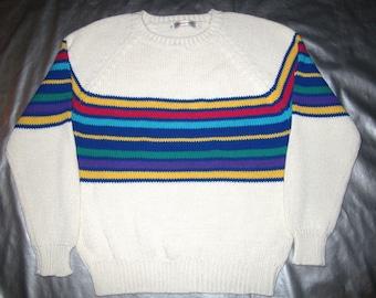 "ESPRIT Sweater Vintage 80's - White and Multi-colored Striped Crewneck Pullover Women's Medium M ""Esprit Sport"""