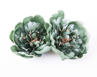 Two Medium Green Blue Spruce Peonies - 4 Inches - Artificial Flower - ITEM 0893