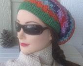 Super Slouchy Multicolor Cotton Bavarian Crochet Cap