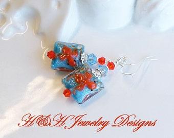 Koi Fish Lampwork Earrings, Blue Orange Fish Lampwork Glass Dangle Earrings, Swarovski Crystals Fish Earrings, Orange Glass Earrings, Blue