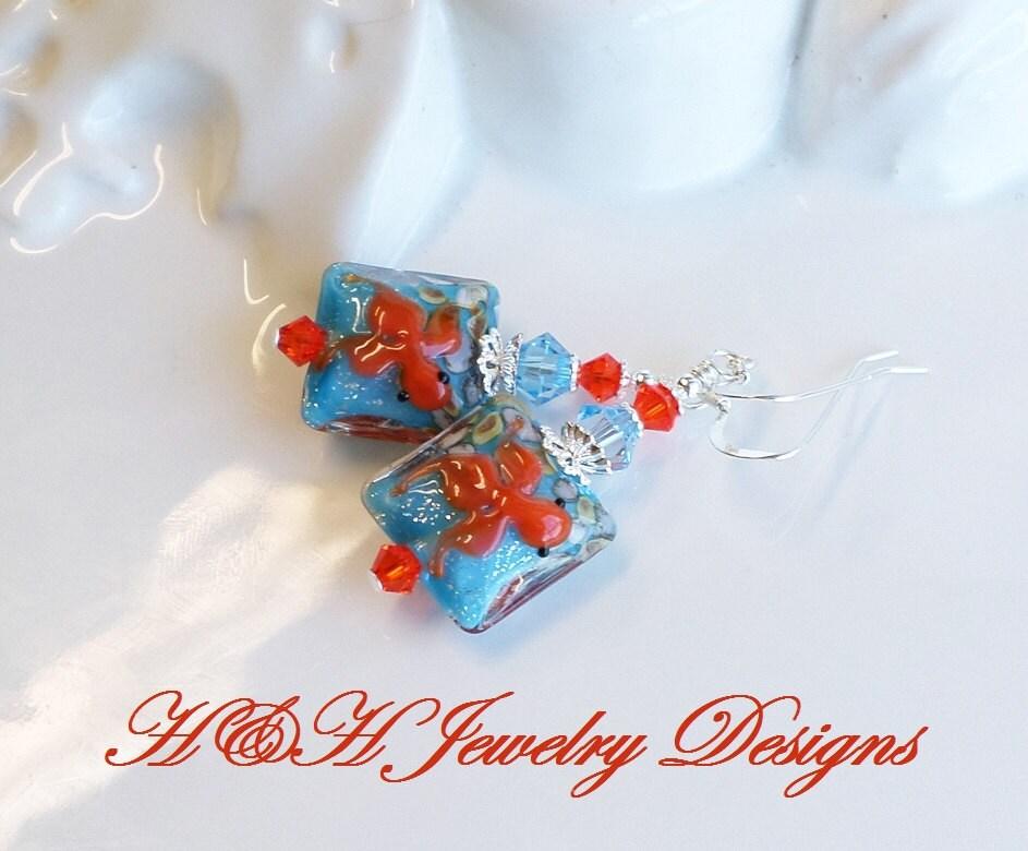 Koi fish lampwork earrings blue orange fish lampwork glass for Koi fish beads