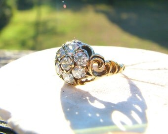 Sparkly Old Cut Diamond Engagement Ring, 7 Fiery Diamonds Cluster, approx .78 ctw, Pretty Scrolling Shoulders in 14K Gold, Victorian Style