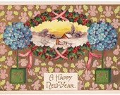 Vintage New Years Postcard from 1909 - Beautiful card