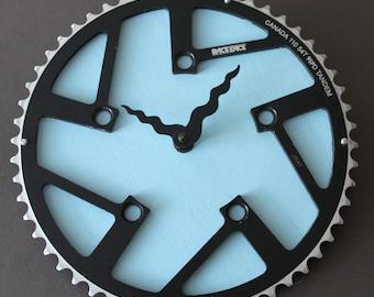 Bicycle Gear Clock - Light Blue  |  Bike Clock  | Wall Clock | Recycled Bike Parts Clock