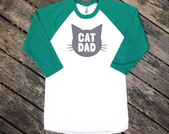 Cat Dad Evergreen Raglan Sleeve Baseball Style TShirt with Grey print - Family Photos, Father's Day, Gift for Him, Crazy Cat Dude, Guy