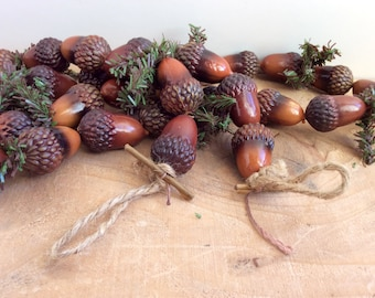Vintage Acorn Garland, Fall Decor. Wonderful Kitschy Painted Plastic Acorns and Pine Twists, German Black Forest Style. Autumn Garland.