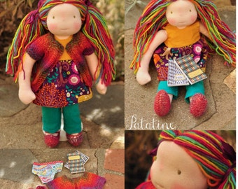 Rainbow Handspun Handpainted Yarn / Waldorf Doll Hair
