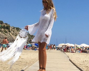 Bell sleeve white cotton dress loose knit open weave long sweater dress