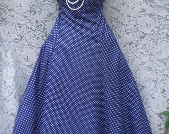 Blue dot dress polka dot  50s style halter pin up rockabilly small from vintage opulence on Etsy