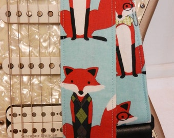 cool hipster foxes turquoise indie guitar strap