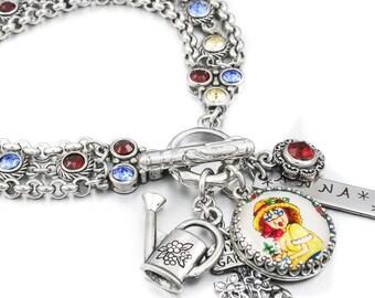Garden Jewelry, Gardening Bracelet, Personalized Garden Bracelet, I Love to Garden, Flower Garden