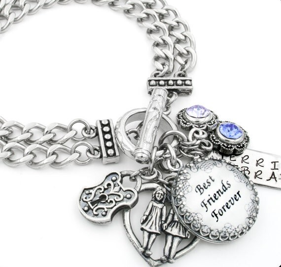 Best Friend Charm Bracelet: Best Friends Charm Bracelet Personalized Jewelry Gifts For