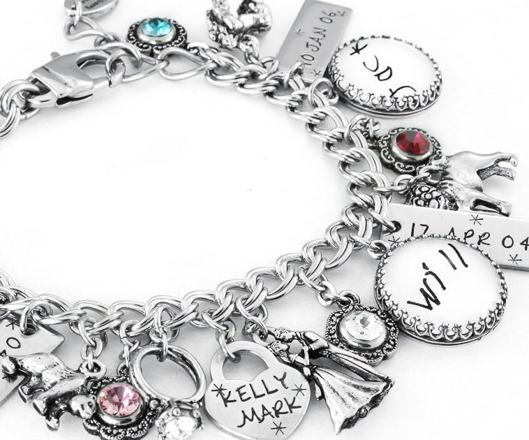 childrens birthstone charm bracelet mothers jewelry. Black Bedroom Furniture Sets. Home Design Ideas