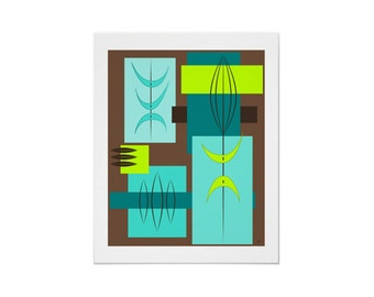 Hua Art Print Retro Tiki Inspired in Custom Colors, Sizes and Types of Paper