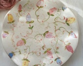 Mother's Day Gift Hand Painted Rosebud Ceramic Plate Garden Party Design Perfect gift For Rose Lover In Stock In Pink as shown