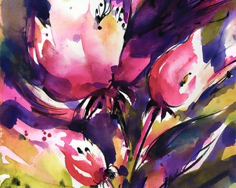 "Pink Flower Watercolor Painting - Original Contemporary floral art ""Floral Abstract Series .. 112"" by Kathy Morton Stanion EBSQ"