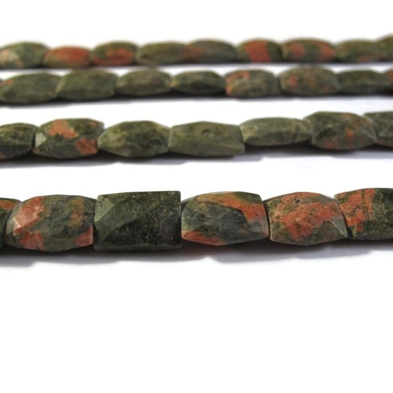 Unakite Gemstone Beads, Long Drilled Chicklet Beads, Green, Red and Brown Gemstones for Making Jewelry, 13 Inch Strand (S-Un2)