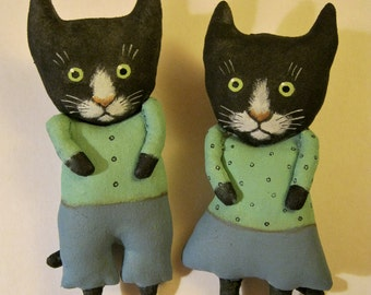 black cat art dolls, sandy mastroni ,soft green and blue , cat couple, boy and girl , wall art, shelf doll,